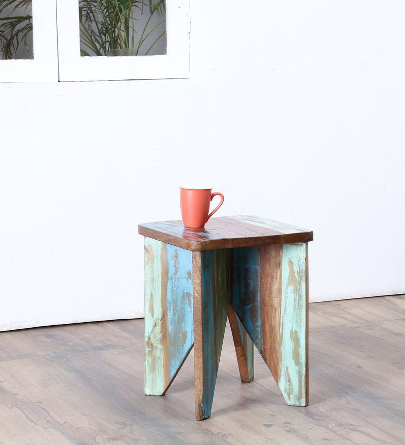 Tynisha Stool in Distress Finish by Bohemiana