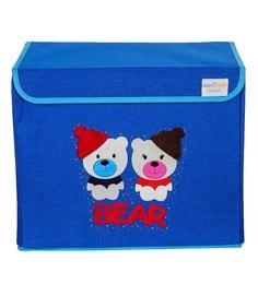 Uberlyfe Bear Cardboard & Bamboo 40 L Blue Single Flap Kids Storage Box