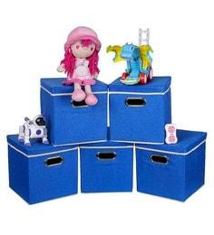Uberlyfe Cardboard 25 L Blue Storage Boxes - Set Of 5