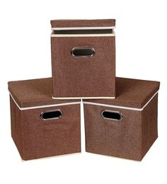 Uberlyfe Cardboard 25 L Brown Storage Boxes - Set Of 3