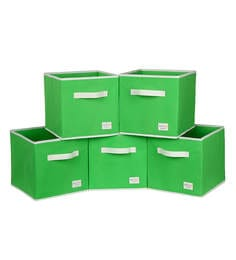 Uberlyfe Cubies Cardboard 20 L Green Storage Boxes - Set Of 5