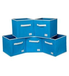 Uberlyfe Cubies Cardboard 20 L Light Blue Storage Boxes - Set Of 5