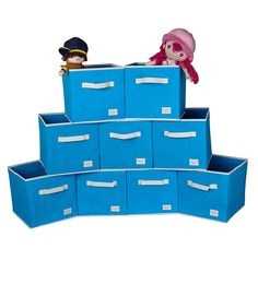 Uberlyfe Cubies Cardboard 20 L Light Blue Storage Boxes - Set Of 9