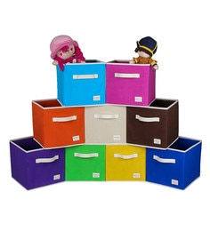 Uberlyfe Cubies Polyester Multicolour Storage Boxes - Set Of 9