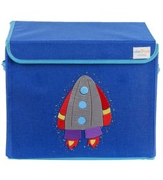 Uberlyfe Rocket Cardboard & Bamboo 40 L Blue Single Flap Kids Storage Box