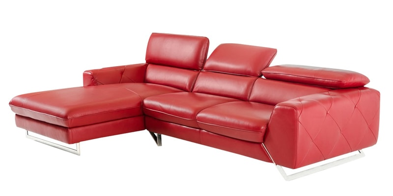 Buy Ultra Modern LHS Two Sofa with Lounger in Red Leatherette by ...