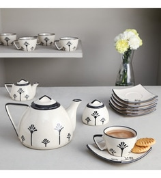Unravel India Black & Off White Ceramic Tea Set - Set Of 15