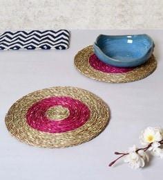 Unravel India Brown & Pink Sabai Grass Coasters - Set Of 2