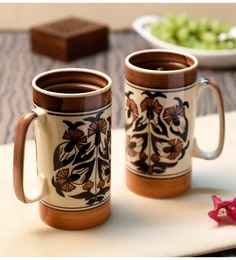 Unravel India Brown Ceramic Beer Mugs - Set Of 2