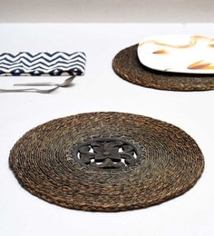 Unravel India Brown Sabai Grass Coasters - Set Of 2 - 1686985