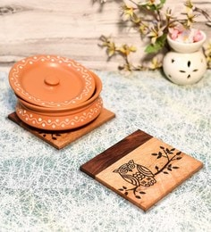 Unravel India Brown Sheesham Wood Coasters - Set Of 2