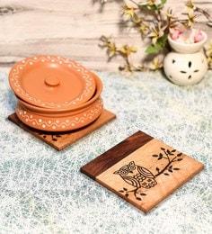 Unravel India Brown Sheesham Wood Coasters - Set Of 2