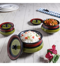 Unravel India Green & Black Stoneware Serving Bowls - Set Of 3