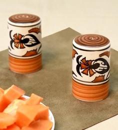 Unravel India Multicolor Ceramic Salt & Pepper Storage - Set Of 2