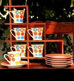 Unravel India Multicolour Porcelain 150 ML Cup & Saucer - Set Of 6