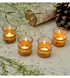 Untold Homes Beige Jute & Glass Tealight Holder - Set Of 4