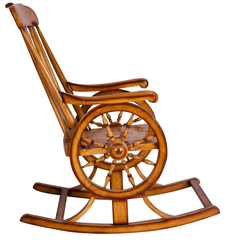 Buy Unique Design Rocking Chair In Brown Colour By Karigar