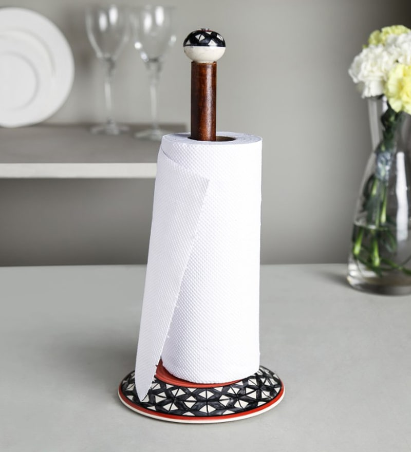 Unravel India Black Ceramic & Mango Wood Tissue Roll Holder