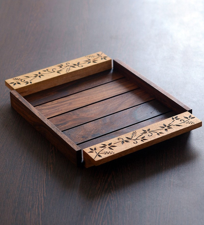 Unravel India Brown Burnt Wooden Small Tray