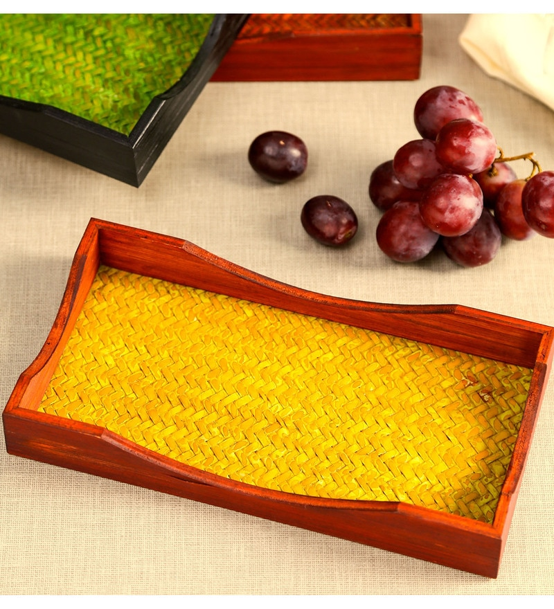 Unravel India Craft Work Bamboo Trays - Set of 3