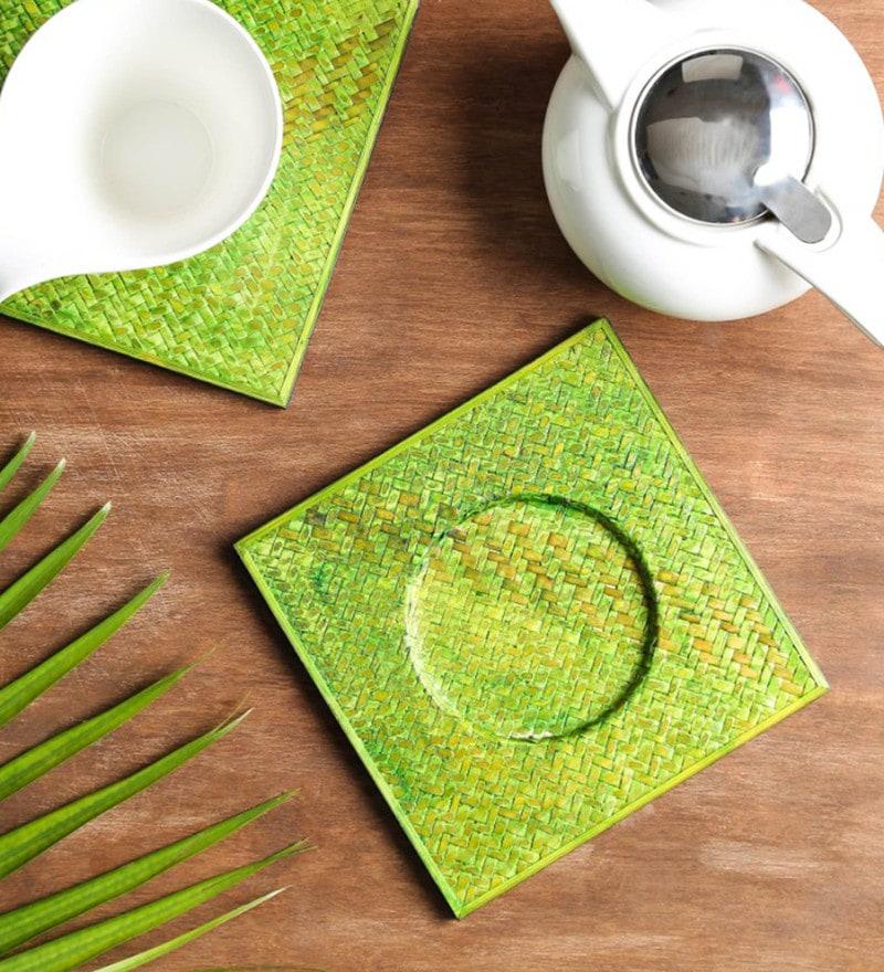 Unravel India Green Sabai Grass Trivets - Set of 2