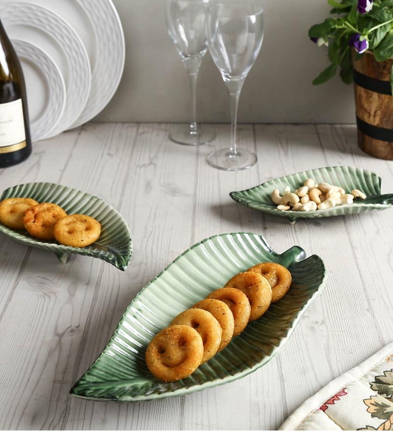 Unravel India Leaf Olive Green Ceramic Platters - Set of 3