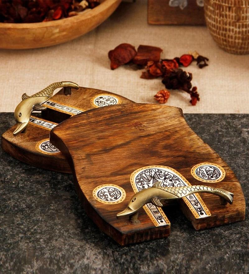 Unravel India Madhubani Handpainted Wood & Brass Tray - Set of 2