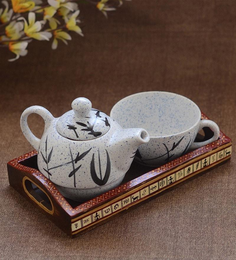 Unravel India Off White Ceramic Teapot Set - Set of 3