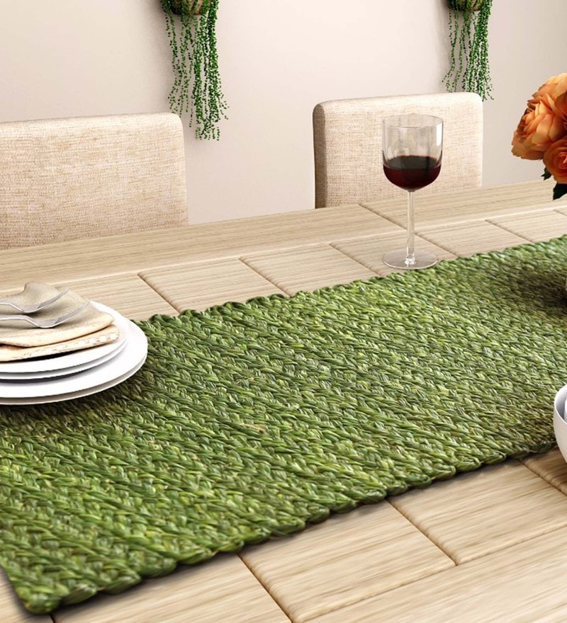 Unravel India Olive Sabai Grass Table Runner