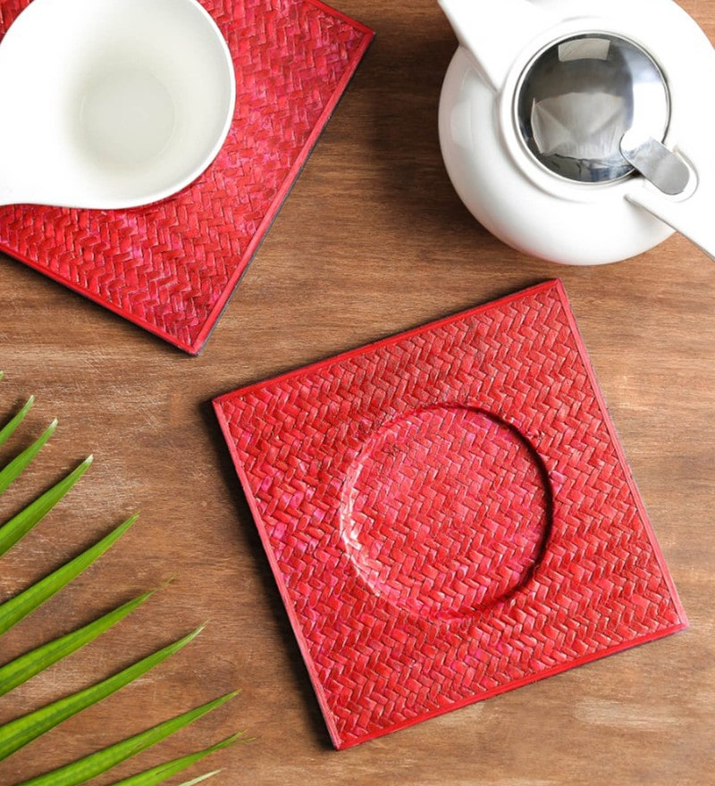Unravel India Red Sabai Grass Trivets - Set of 2