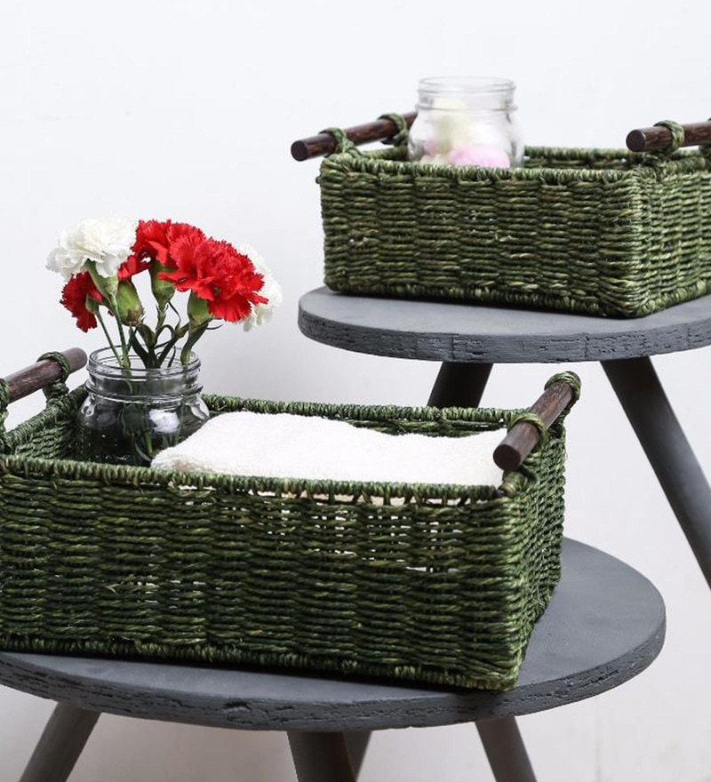 Unravel India Sabai Grass Olive Utility Baskets - Set of 2