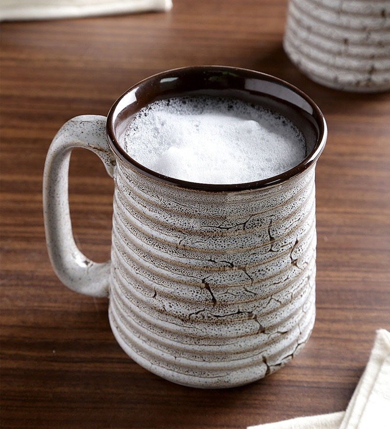 Unravel India Studio Off White & Brown Ceramic 400 ML Mug - Set of 2