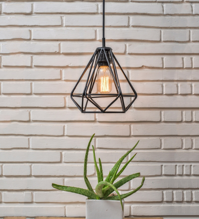 Black Metal Diamond Pendant by Untold Homes