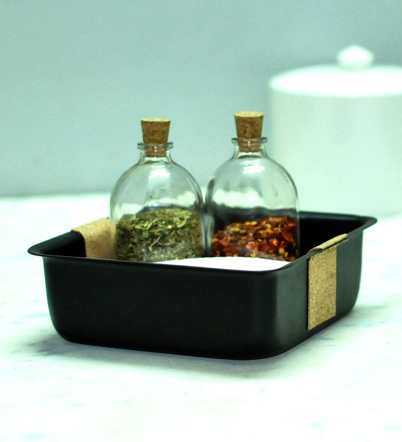 Untold Homes MDF & Glass Platter with Seasoning Bottles - Set of 3