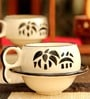 Unravel India 150 ML Stoneware Cups & Saucers Set  - Set of 6