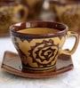 Unravel India 150 ML Warli Stoneware Cups & Saucers Set - Set of 6