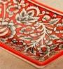 Unravel India Orange Hand Painted Rectangular Platter