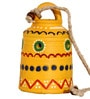 Unravel India Yellow Terracotta Warli Hand Painted Hanging Bell