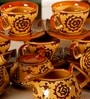 Unravel India Warli handpainted Stoneware Tea Set - Set of 15