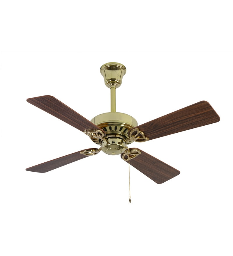Usha Hunter Bayport Brass Ceiling Fan with walnut Blades