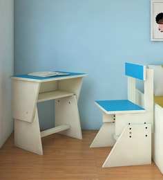 Utopia Extendable Chair & Desk Set For Kids In Azure & White Finish