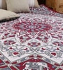 Uttam Big Star Handlook Print Maroon Cotton Abstract 90 x 83 Inch Bed Sheet
