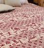 Uttam Cartoon Batik Print Single-Size Cotton Bedsheet in White & Maroon