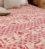 Uttam Cartoon Batik Print Single-Size Cotton Bedsheet in White & Red