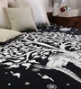 Elephant Tree Print Black & White Cotton 90 x 83 Inch Bedsheet by Uttam