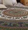 Round Elephant Handlook Print Black Cotton 90 x 83 Inch Bedsheet by Uttam