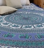 Round Elephant Handlook Print Blue Cotton 90 x 83 Inch Bedsheet by Uttam