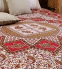Square Elephant Handlook Print Red Cotton 90 x 83 Inch Bedsheet by Uttam
