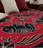 Square Flower Moon Batik Print Red Cotton 90 x 83 Inch Bedsheet by Uttam