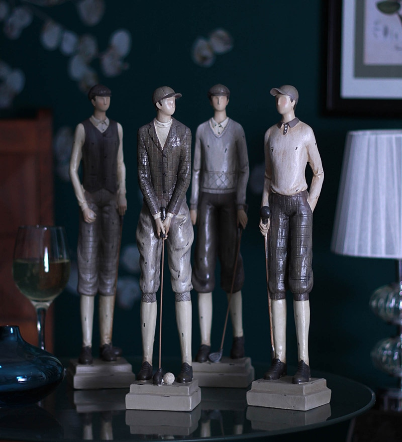 Black Resin Golf Team Figurines - Set of 4 by V Decor